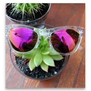 Westward leaning clear sunglasses